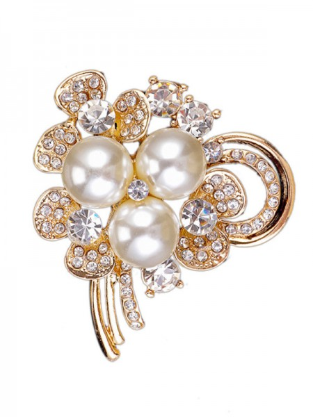 Alliage chic avec broche femme strass/perle d'imitation