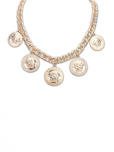 Occident Round Plate Human Head Stylish Necklace